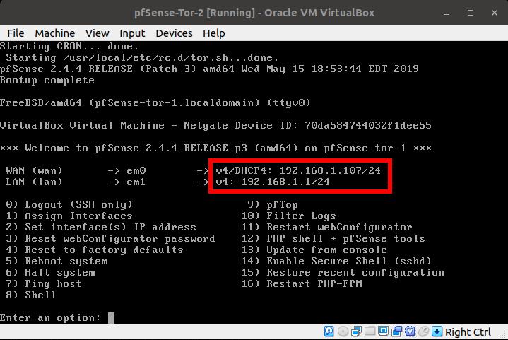 Nested Tor Gateways using pfSense